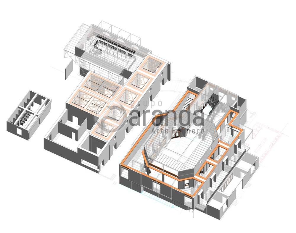 Construcción de Decorados para La Casa de Papel. Render edificio